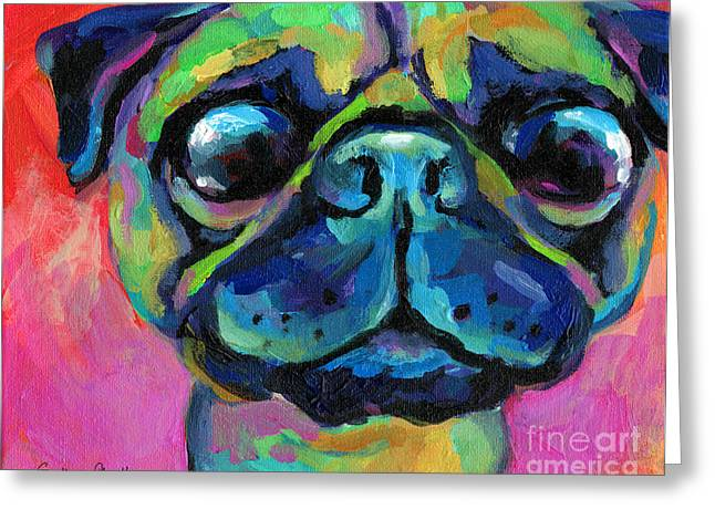 Custom Pet Portraits In Austin Greeting Cards - Funny bug eyed pug  Greeting Card by Svetlana Novikova