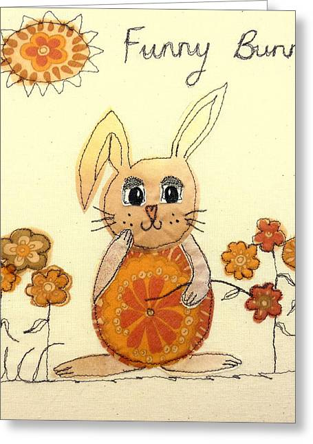 Child Tapestries - Textiles Greeting Cards - Funny Bunny Greeting Card by Hazel Millington