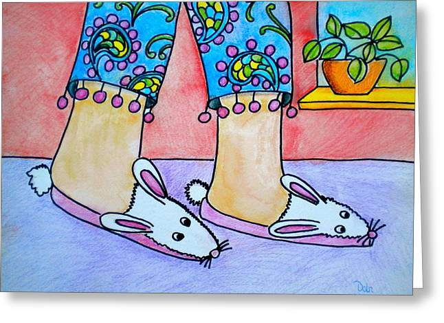 Pajamas Greeting Cards - Funny Bunny Slippers Greeting Card by Debi Starr
