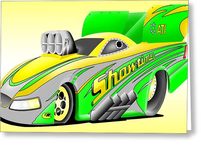 Funny Car Greeting Cards - Funny Car Cartoon Greeting Card by Lyle Brown