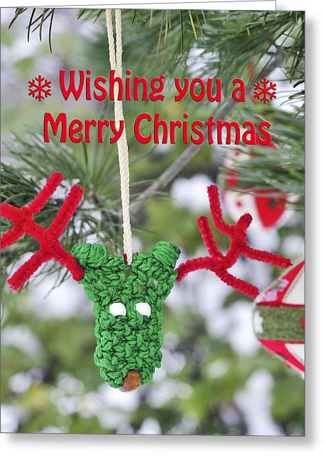 Funny Christmas Card Reindeer Ornament On Pine Tree Greeting Card by Marianne Campolongo