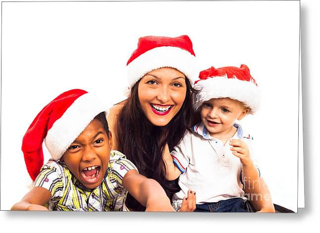 Biracial Greeting Cards - Funny Christmas family Greeting Card by Jan Mika