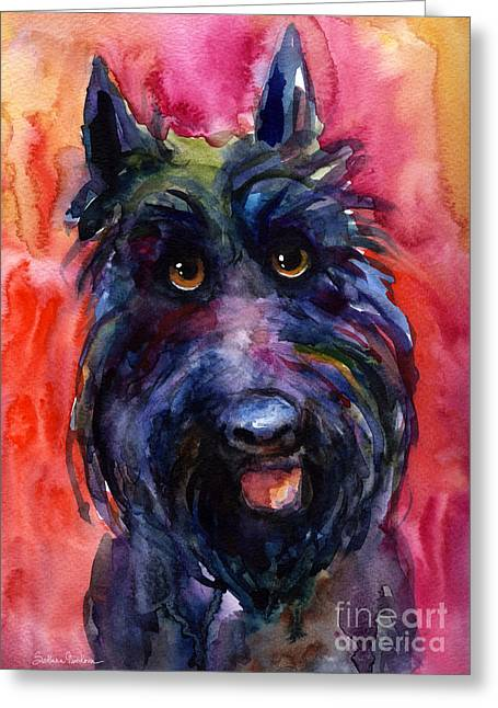 Whimsical Dog Art Greeting Cards - Funny curious Scottish terrier dog portrait Greeting Card by Svetlana Novikova
