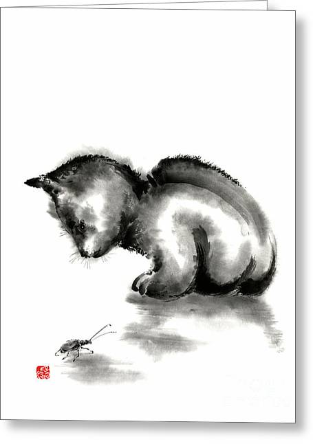 Beetle Cat Greeting Cards - Funny cute little black cat and beetle Japanese sumi-e original ink painting art print Greeting Card by Mariusz Szmerdt