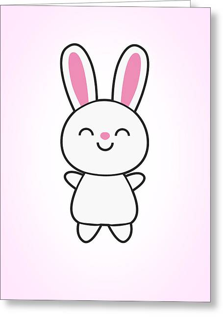 Sesame Street Greeting Cards - Funny Cute Rabbit Bunny in Pink Greeting Card by Philipp Rietz