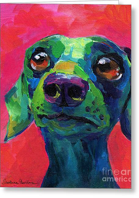 Custom Portraits Greeting Cards - Funny dachshund weiner dog Greeting Card by Svetlana Novikova