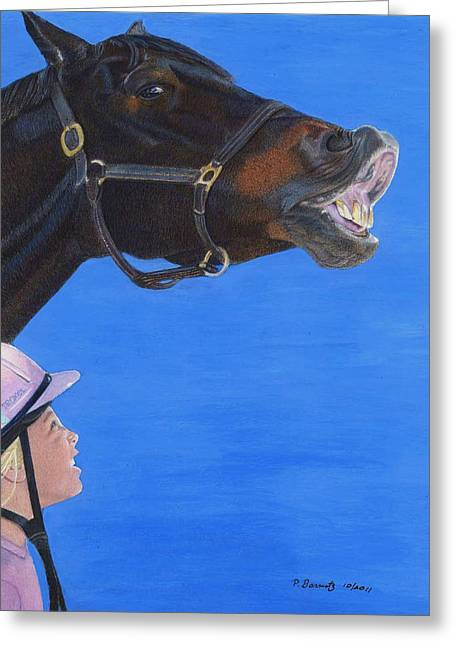 Colored Pencil On Canvas Greeting Cards - Funny Face - Horse and Child Greeting Card by Patricia Barmatz