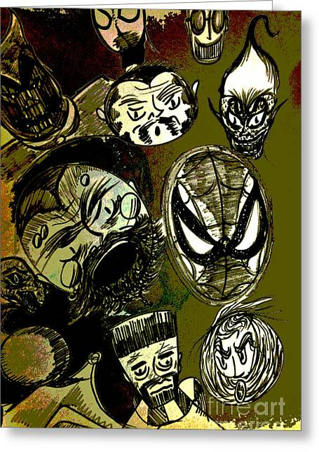 Comic Book Character Paintings Greeting Cards - Funny Faces  Greeting Card by Jazzboy