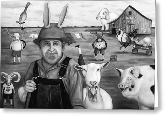 Steer Greeting Cards - Funny Farm bw Greeting Card by Leah Saulnier The Painting Maniac