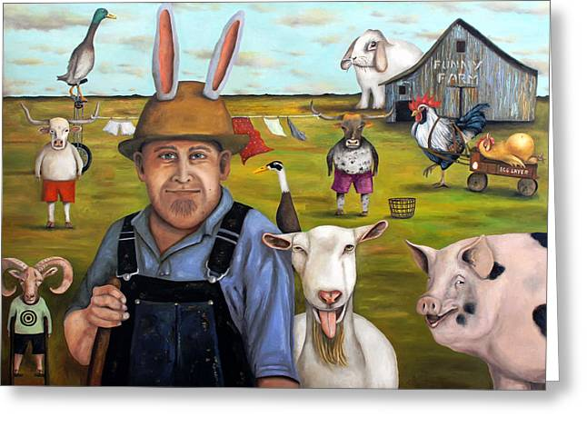 Hare Greeting Cards - Funny Farm Greeting Card by Leah Saulnier The Painting Maniac