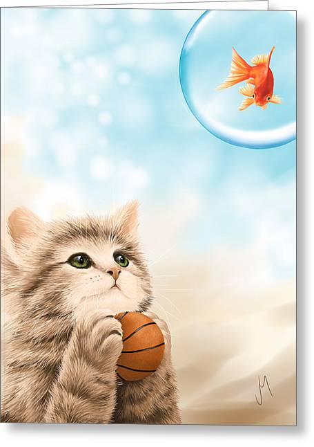 Basket Ball Game Greeting Cards - Funny games Greeting Card by Veronica Minozzi