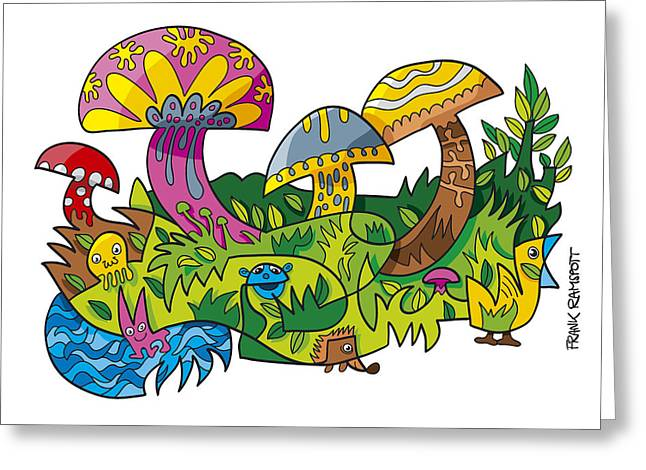 Funny Mushroom Animals Scene Doodle Greeting Card by Frank Ramspott