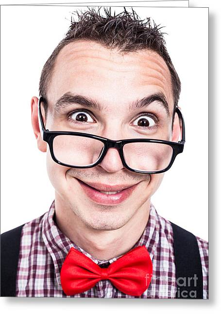 Eggheads Greeting Cards - Funny nerd face Greeting Card by Jan Mika