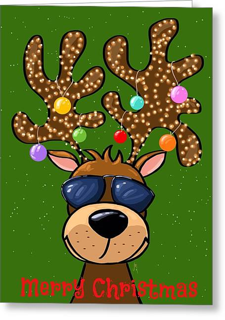 Funny reindeer painting by veronica minozzi for Funny reindeer christmas cards