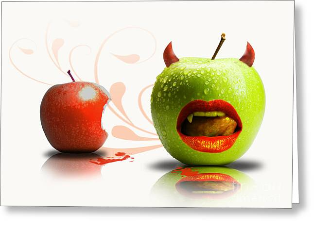 Biting Greeting Cards - Funny satirical digital Image of red and green apples Strange Fruit Greeting Card by Sassan Filsoof