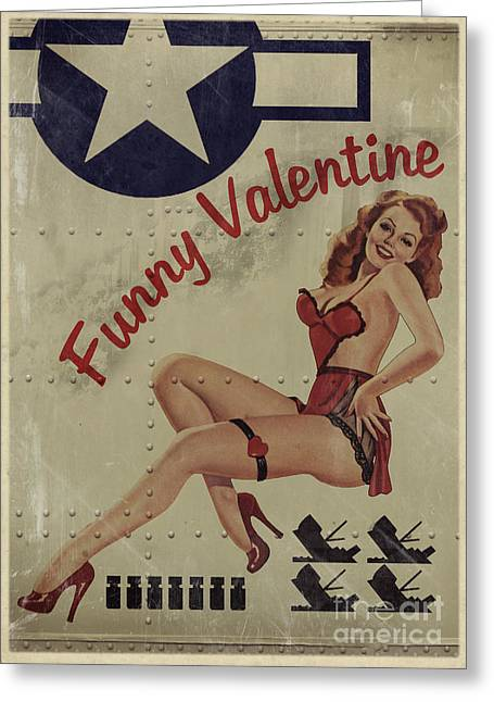 Vintage Pinup Greeting Cards - Funny Valentine Noseart Greeting Card by Cinema Photography
