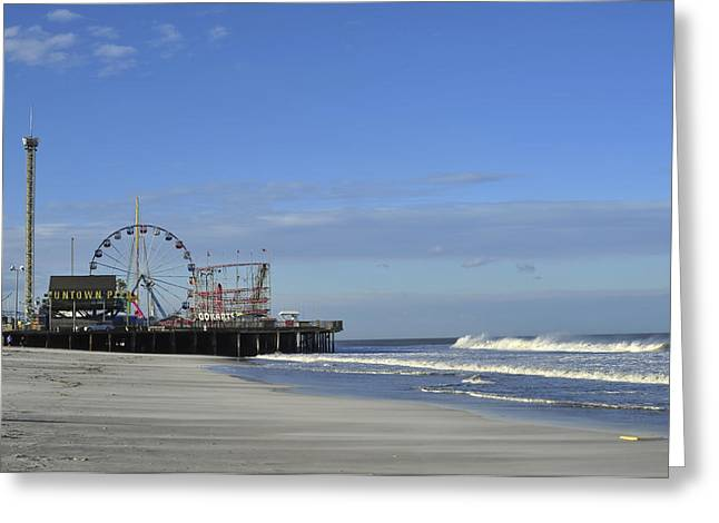 Bathroom Prints Greeting Cards - Funtown Pier Seaside Heights NJ Jersey Shore Greeting Card by Terry DeLuco