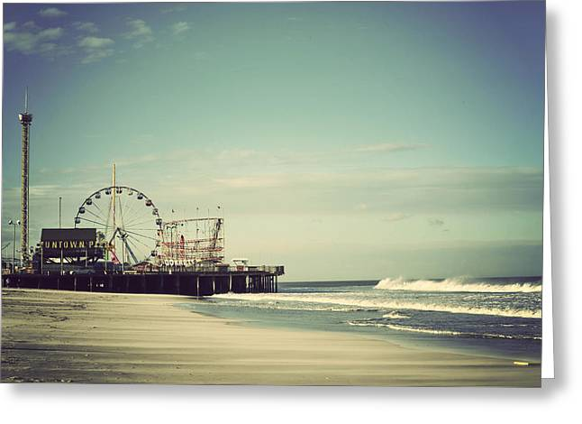 Seascape Photography Greeting Cards - Funtown Pier Seaside Heights New Jersey Vintage Greeting Card by Terry DeLuco