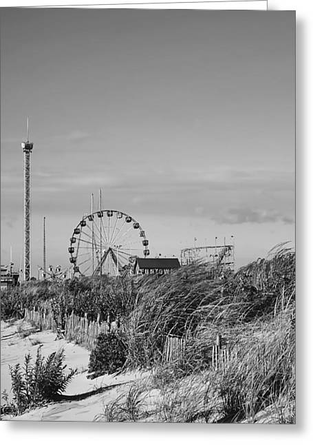 Seaside Heights Greeting Cards - Funtown Pier Seaside Park New Jersey Black and White Greeting Card by Terry DeLuco
