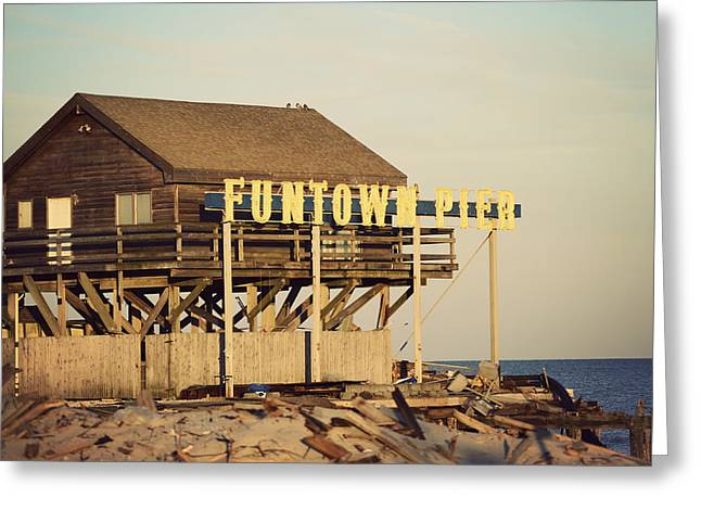 Seaside Heights Greeting Cards - Funtown Pier Vintage Greeting Card by Terry DeLuco