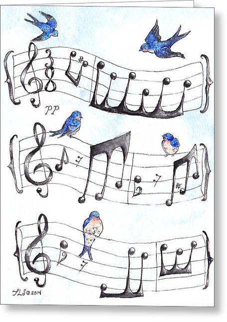 Scores Paintings Greeting Cards - Fur Elise Song Birds Greeting Card by Theresa Stinnett