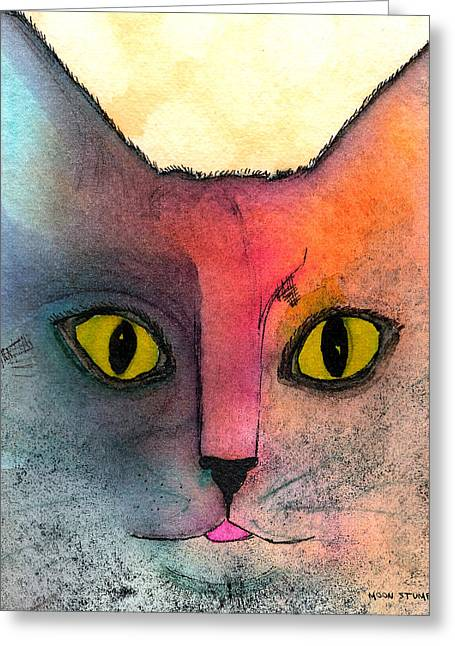 Feline Fantasy Greeting Cards - Fur Friends Series - Abby Greeting Card by Moon Stumpp