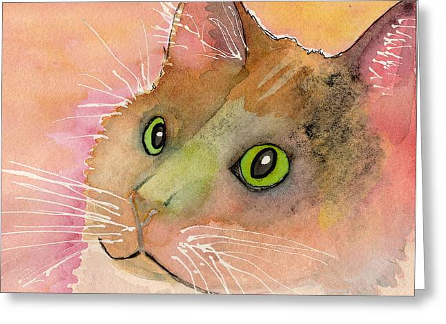 Watercolor And Ink Greeting Cards - Fur Friends Series - Muggs Greeting Card by Moon Stumpp
