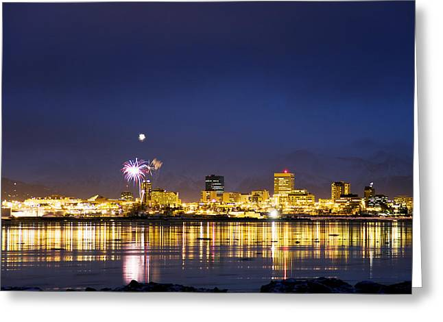 Pyrotechnics Greeting Cards - Fur Rendezvous Fireworks Display Over Greeting Card by Mark Stadsklev