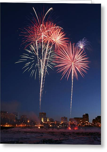 Fur Rendezvous Greeting Cards - Fur Rondy Fireworks Over Anchorage Greeting Card by Calvin Hall