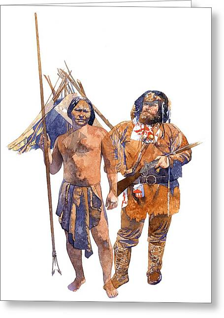 Native American Illustration Greeting Cards - Fur Trader and American Indian Greeting Card by Matthew Frey