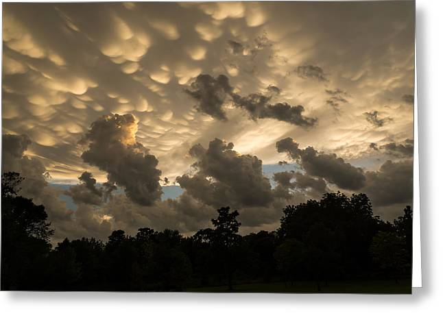Turbulent Skies Greeting Cards - Furious Sky - Mammatus Clouds After a Violent Storm Greeting Card by Georgia Mizuleva