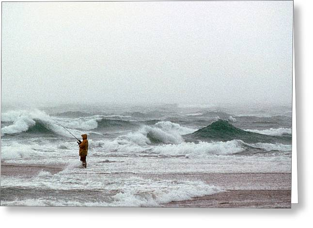 Surf Fishing Greeting Cards - Furious Solitude Greeting Card by Skip Willits