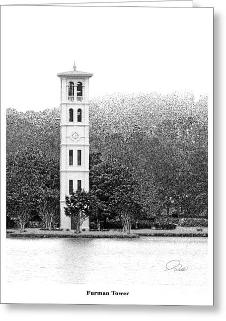 Black And White Images Mixed Media Greeting Cards - FURMAN TOWER - Architectural Renderings Greeting Card by Andrew Wells