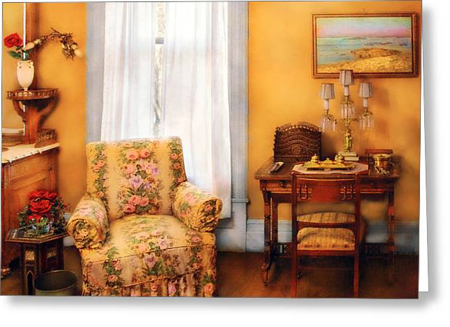 Furniture - Chair - Livingrom Retirement Greeting Card by Mike Savad