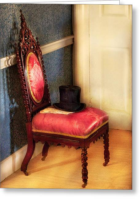Proper Greeting Cards - Furniture - Chair - Ready for the ball Greeting Card by Mike Savad