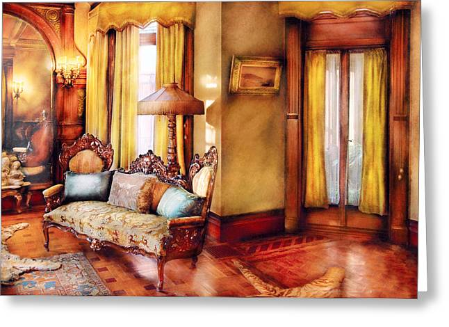 Lottery Greeting Cards - Furniture - Chair - The queens parlor Greeting Card by Mike Savad