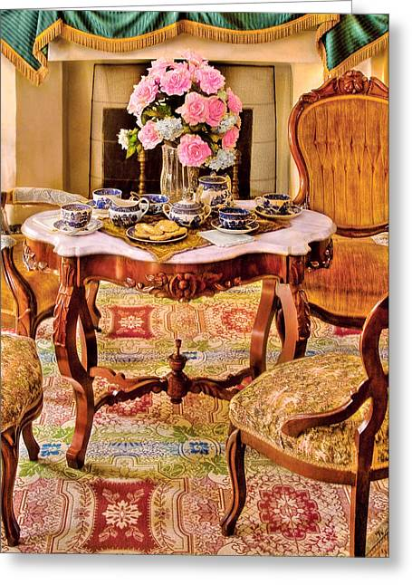 Fashion Setting Greeting Cards - Furniture - Chair - The Tea Party Greeting Card by Mike Savad