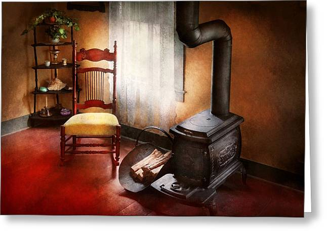 Antique Wood Stove Greeting Cards - Furniture - Chair - Where she spent most of her days Greeting Card by Mike Savad