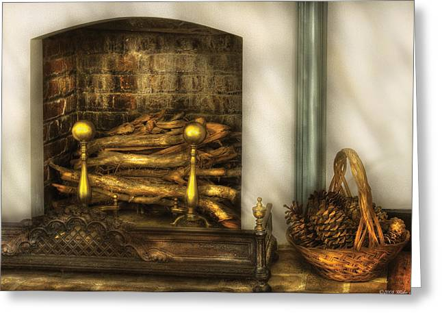 Pine Cones Greeting Cards - Furniture - Fireplace - A simple fireplace Greeting Card by Mike Savad