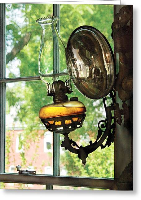 Oil Lamp Greeting Cards - Furniture - Lamp - An oil lantern Greeting Card by Mike Savad