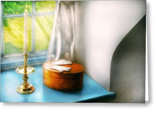 Glove Box Greeting Cards - Furniture - Lamp - In the window  Greeting Card by Mike Savad