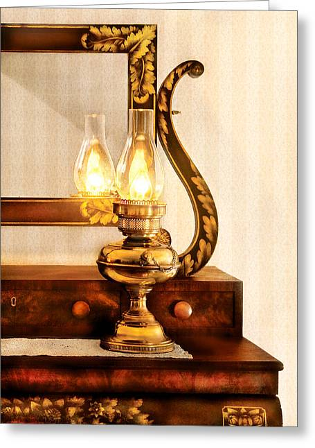 Custom Mirror Greeting Cards - Furniture - Lamp - The bureau and lantern Greeting Card by Mike Savad