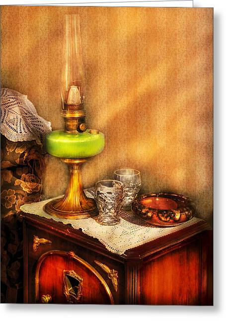 Smoker Greeting Cards - Furniture - Lamp - The Gas Lamp Greeting Card by Mike Savad