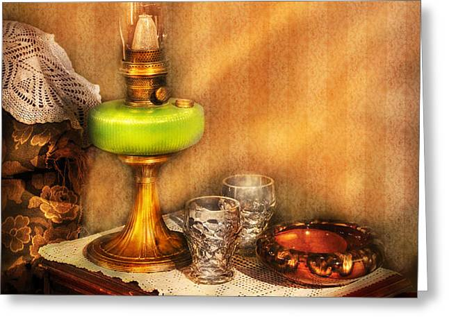 Furniture - Lamp - The Gas Lamp Greeting Card by Mike Savad
