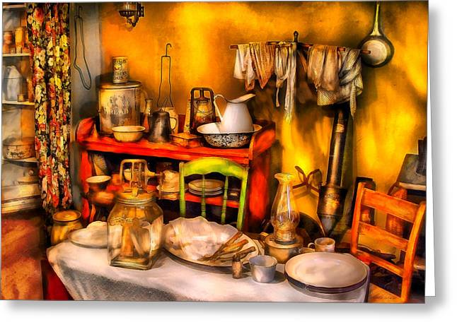 Fashion Setting Greeting Cards - Furniture - Table - Our first apartment Greeting Card by Mike Savad