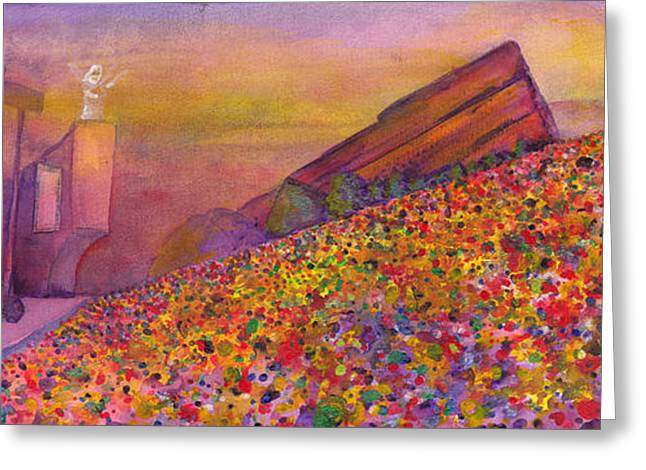 2011 Greeting Cards - Furthur at Redrocks 2011 Greeting Card by David Sockrider