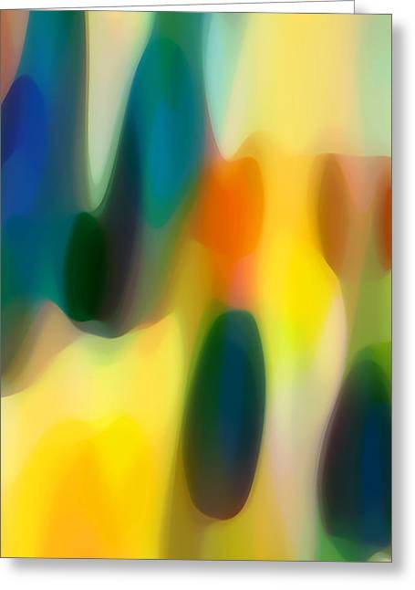Sunset Abstract Greeting Cards - Fury Rain 3 Greeting Card by Amy Vangsgard