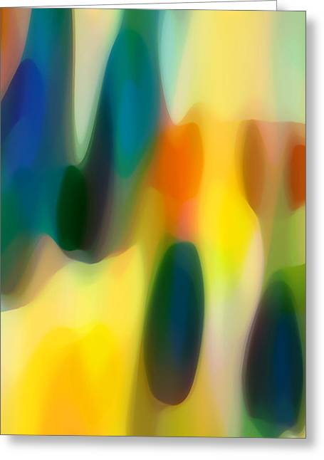 Abstract Seascape Digital Greeting Cards - Fury Rain 5 Greeting Card by Amy Vangsgard