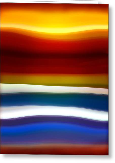 Sunset Abstract Greeting Cards - Fury Sea 5 Greeting Card by Amy Vangsgard