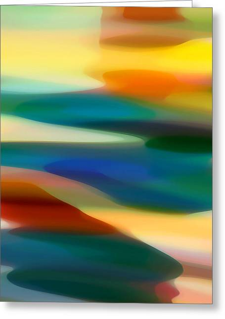 Sunset Abstract Greeting Cards - Fury Seascape 1 Greeting Card by Amy Vangsgard